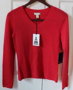 Adrienne Vittadini 100% 2-ply CASHMERE Red V Neck Sweater Sz Small NEW with TAGS  | eBay