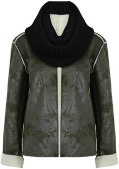 Green Contrast Knit Collar Chammy Jacket EUR€34.83