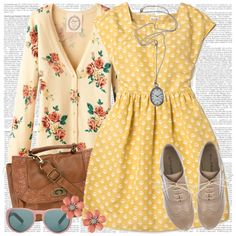 Yellow and White Ivory Patterned Short-Sleeved A-Line Dress with Cream Floral Cardigan (Red/Green/Pink) and Accessories