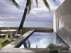 Geoffrey Beene - Beach House - Veranda.com ... Always interested in a soft geometry, Beene used simple shapes to frame the lap pool which overlooks the ocean.