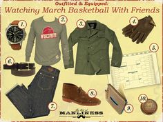 Outfitted & Equipped http://www.artofmanliness.com/2013/03/21/outfitted-equipped-watching-march-basketball-with-friends/