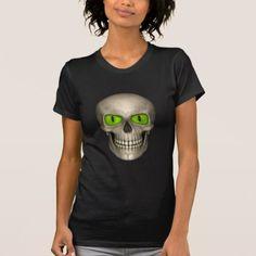 Green Eyed Evil Skull Dead  Crew Neck T-Shirt - personalize custom customizable