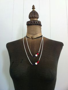 Vintage  Metal Patriotic Necklace  Red White and by ArtDecoDame, $9.00