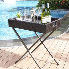 Palm Harbor Outdoor Wicker Butler Tray contemporary-bar-carts