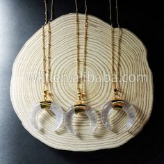 WT-N498 Exclusive Newest fashion crystal horn necklace 24k