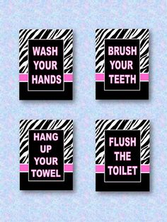 Wash Brush Flush Floss Zebra Print and Hot Pink Wall Art 5 x 7 Prints for Kids Bathroom(For Sarah) Zebra Print Bathroom, Bathroom Wall Art, Bathroom Kids, Bathroom Stuff, Pink Wall Art, Wall Art Sets, Girl Bathrooms, Wash Brush, Pink Room
