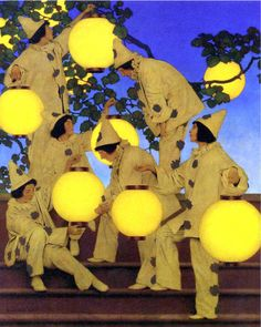 Maxfield Parrish, The Lantern Bearers, about art deco era srt, canvas art print. New Hampshire, Canvas Art Prints, Oil On Canvas, Maxfield Parrish, Luminous Colours, Thing 1, Art Deco Era, Antique Art, American Art