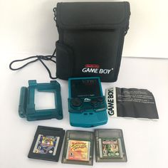 Nintendo Game Boy Color Teal Magnifier Light With Carry Bag Games Pokemon #Nintendo