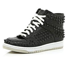 Black glitter studded mid tops - high tops - shoes / boots - women