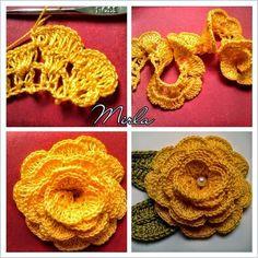 Flores tejidas al crochet decoradas con perlas - con paso a paso en fotos | Crochet y Dos agujas