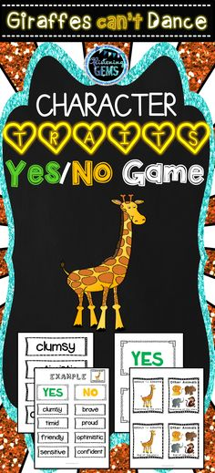Giraffes Can't Dance Character Traits Game - Fun and interactive game for students to make inferences about the characters. Can be played as a whole class game, in pairs or small group, Gerald The Giraffe, English Teaching Resources, Teaching Ideas, Giraffes Cant Dance, Dance Themes, Kindergarten Themes, Class Games, Character Trait, Beginning Of The School Year