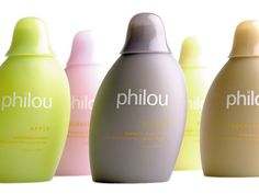 Philou pre-teens shampoo and conditioner bottles- Designed by FuseProject. Love the unusual shapes and colours. V playful....