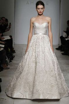 Dahlia  Silk taffeta strapless gown with shirred bodice and hand-pleated taffeta floral embroidered skirt