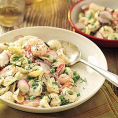 Orecchiette with Peas, Shrimp, and Buttermilk-Herb Dressing | CookingLight.com