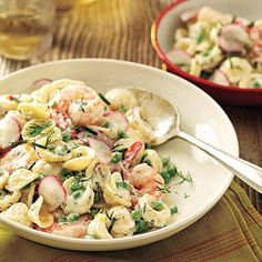 Orecchiette with Peas, Shrimp, and Buttermilk-Herb Dressing | CookingLight.com
