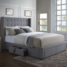 Features:  -Box spring and mattress are both required.  -4 Storage drawers included.  -Linen fabric.  -Color: Grey.  -Low profile box spring and mattress are recommended.  -Includes 3 slats and has a