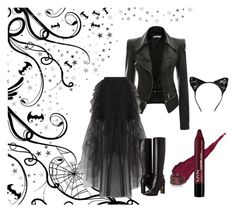 """""""Halloween"""" by elvisa-hamzic ❤ liked on Polyvore featuring BCBGMAXAZRIA, Sif Jakobs Jewellery and Burberry"""