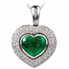 Colombian Heart Shaped Emerald Pave Diamond Pendant | 1stdibs.com