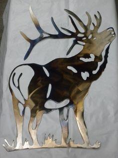 16 inch Bull Elk Metal Heat-Colored Wall Art by ThorsForge on Etsy Wildlife Home Decor, Wildlife Art, Deer Art, Moose Art, Elk Silhouette, Hunters Cabin, Horse Stencil, Wood Burning Stencils, Bull Elk