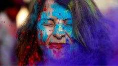 A student of Rabindra Bharati University reacts as fellow students throw coloured powder in her face during the Holi celebrations inside the university campus in Kolkata, India February Holi Colors, Colours, Holi Celebration, Fitness Motivation, New York Girls, Best Salon, Happy Holi, Color Powder, Pink Eyes