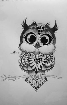 With charcoal pen I love it so much Hope you love it , to… Cute owl. Owl Doodle, Doodle Art, Owl Art, Bird Art, Art Drawings Sketches, Easy Drawings, Owl Tattoo Design, Tattoo Designs, Baby Owl Tattoos