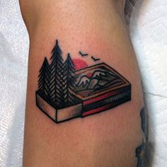Top 100 Nature Tattoo Ideas Update] - Man With Creative Calf Tattoo Forest In Matchbox - Nature Tattoo Sleeve, Nature Tattoos, Sleeve Tattoos, Traditional Camping Tattoo, Traditional Canadian Tattoo, American Traditional Tattoos, Natur Tattoo Arm, Desenhos Old School, Outdoor Tattoo