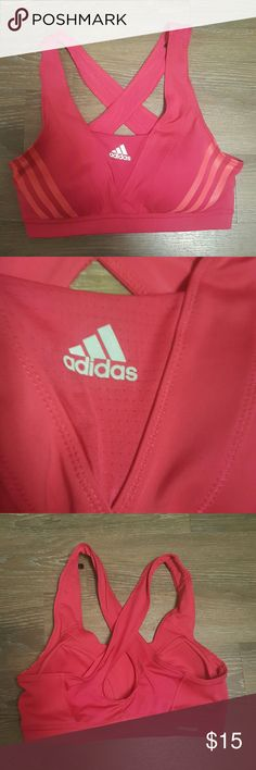 M Addias climacool crossback sportsbra Size medium excllent condition looks new! Reflective adidas logo in front and straps cross in the back. Pink! Adidas Intimates & Sleepwear Bras