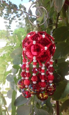 Red White and Gold Ornament, Sun Catcher by DustDevilTreasures on Etsy