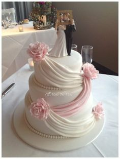 """Romance and Love"" wedding cake ~ All edible except the topper"