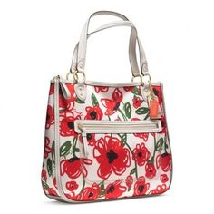 Coach New Poppy Floral Printed Hallie Glam Red Multi Tote Bag $171