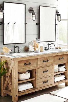 50 Amazing Farmhouse Bathroom Vanity Decor Ideas 22 – Home Design Pottery Barn Bathroom, Rustic Master Bathroom, Bathroom Vanity Decor, Rustic Bathroom Vanities, Modern Farmhouse Bathroom, Bathroom Styling, Bathroom Ideas, Bathroom Lighting, Master Bathrooms