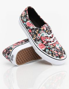 Vans Authentic Girls Skate Shoes - Multi Floral/Black/True White ...