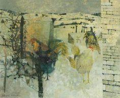 Leonard Henry Rosoman (1913-2012) - Chickens in the Snow