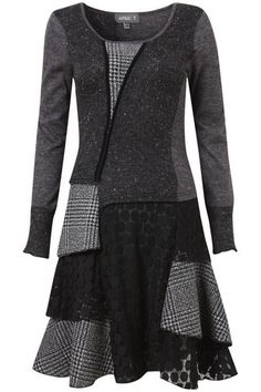 Dark Grey Edwardian Patchwork Tunic Dress on Womens Clothing