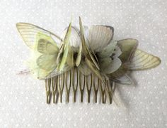 Handmade Butterflies Moths and Wings Hair Comb in Green and