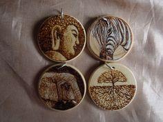 SALE! LOT OF 4 WOODEN PENDANTS - PYROGRAPHY/WOODBURNING: zebra, elephant, tree