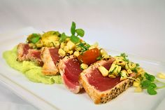 #DinnerSpecial:  Seared ahi tuna with grilled corn & heirloom tomato salsa and jalapeño mashed potatoes.