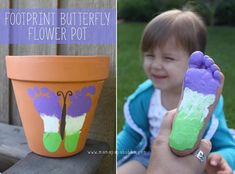 How To Make A DIY Cute Footprint Butterfly Pot Pictures, Photos, and Images for Facebook, Tumblr, Pinterest, and Twitter