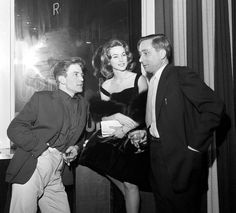 Albert Finney, Shirley Anne Field and author Alan Sillitoe   attending a pre-premier party for Saturday Night and Sunday Morning. 1960