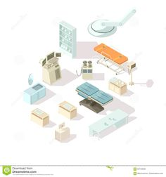 Hospital Equipment Isometric Set Stock Vector - Image: 84153526