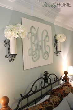 diy monogram wall art the hamby home - Ideas For Bedroom Wall Decor