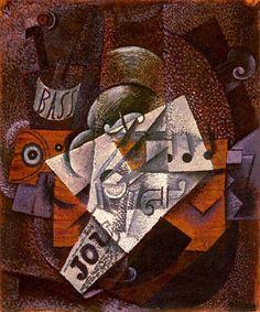 Pablo Picasso, 1913 Bouteille, clarinette, violon, journal, verre