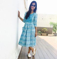 Ideas For Skirt Pattern Long Summer Casual Frocks, Casual Dresses, Short Dresses, Fashion Dresses, Women's Fashion, Designer Kurtis, Designer Dresses, Kalamkari Dresses, Ikkat Dresses