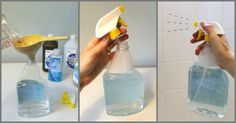 Make your own homemade daily shower cleaner spray - save money with this easy recipe made with common household ingredients Diy Home Cleaning, Cleaning Spray, Household Cleaning Tips, Homemade Cleaning Products, Deep Cleaning Tips, House Cleaning Tips, Cleaning Solutions, Cleaning Hacks, Glass Cleaning