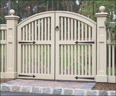 "Yorktown Double Walk Gate - A gate well worth approaching, this double Yorktown features Acorn Straps, a Devonshire ring latch, and decorative recessed panels on the 8"" square gate posts."