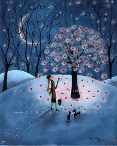 Take As Much As You Need Hearts Valentine Love Forest Snow Painting by Deborah Gregg