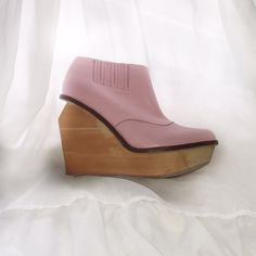 NEW IN BOX - Jeffrey Campbell Brisbane-L - RARE Adorable pink leather booties with wooden wedge. Size 7. RARE. Never worn. Jeffrey Campbell Shoes Ankle Boots & Booties