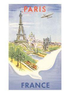 Vintage Travel Poster - France - Paris