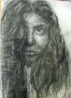 self portrait by me,Seba Ali Charcoal on paper
