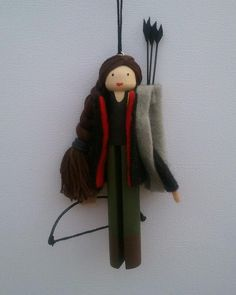 Hunger Games Katniss Clothespin Doll Ornament. $15.00, via Etsy.